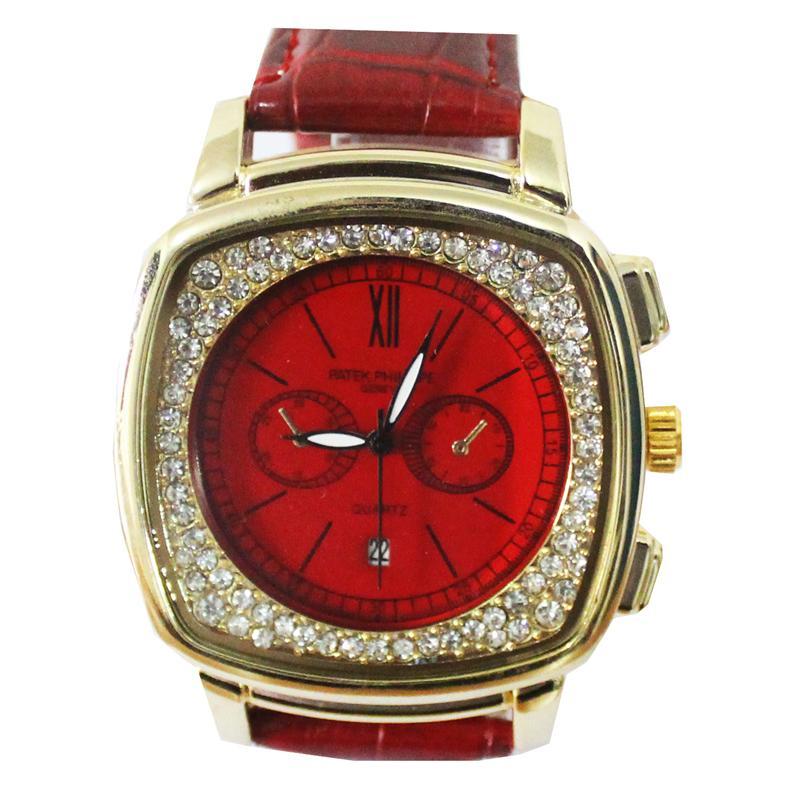 Patek Philippe Red Leather Chrono Design Men's Watch