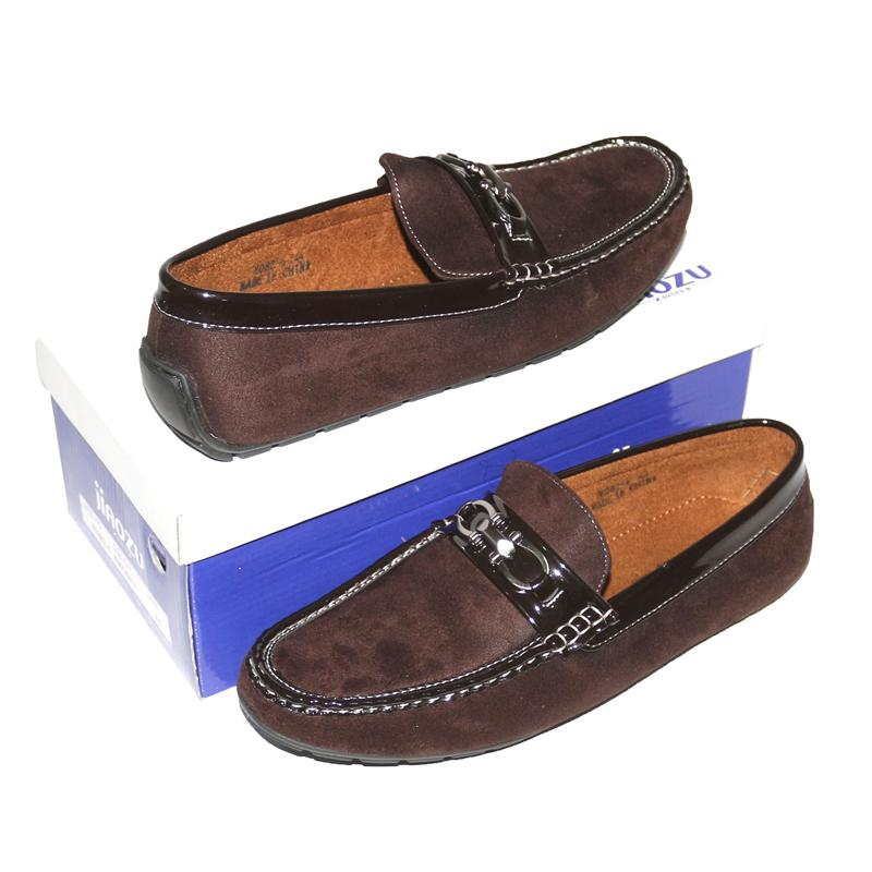 JZ Brown Suede Patent Trim Men's Loafers