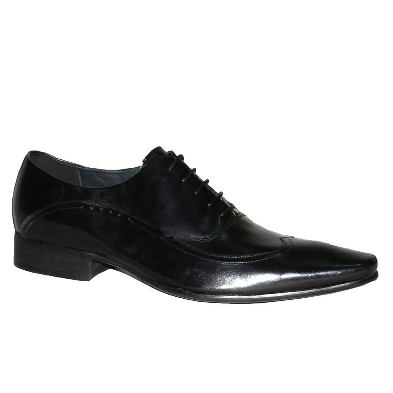 Texas Black Leather Men's Moc Toe Formal Shoe