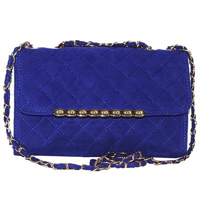 Fashion Blue Suede Stud Detailed Ladies Slingbag
