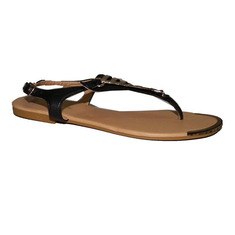 Hangxi Black Leather Ladies Flat Sandal