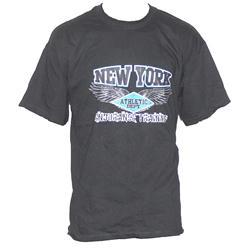 Black Cotton Blue/Black New York Print Men's T-Shirt
