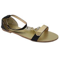 Siader Black Leather Gold Band Design Flat Sandal