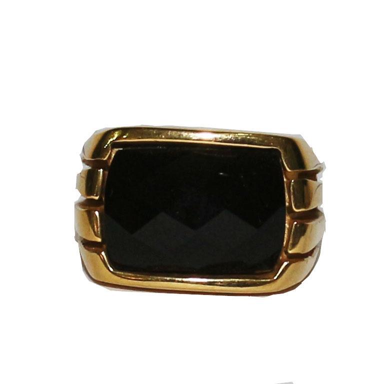 Gold Retangle Black Stud Bishop Ring