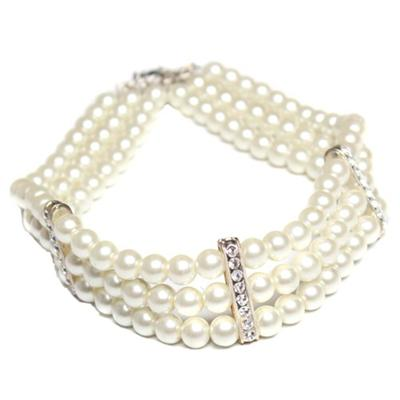 Juelz Cream Bead Bracelet Wt Silver Design