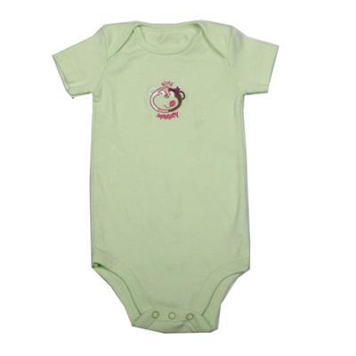 Light Lemon Baby Romper Wt Monkey Design Infant