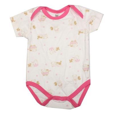 Caters Cream/Pink Baby Romper Wt Bear Design