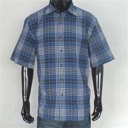 Rio Ricci Blue/Gray Checked Men's S/Sleeve Shirt