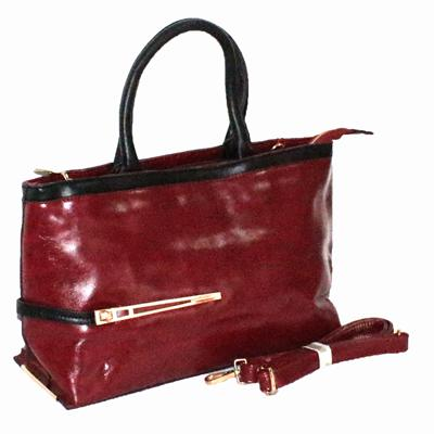 Laifu Wine/Black Leather Ladies Handbag