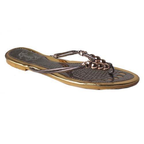 SP Grey Leather Ladies Flat Sandal