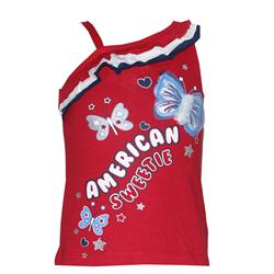 Red/White/Blue Cotton Butterfly Design Monostrap Girls Top