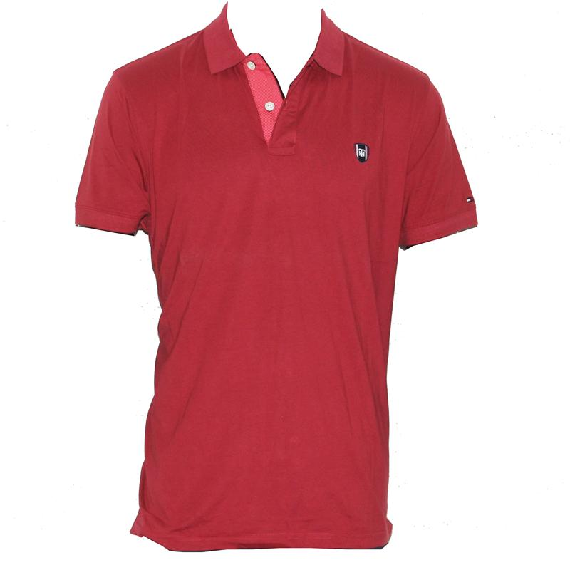 Tommy Hilfiger Wine Cotton Small Badge Men's Polo
