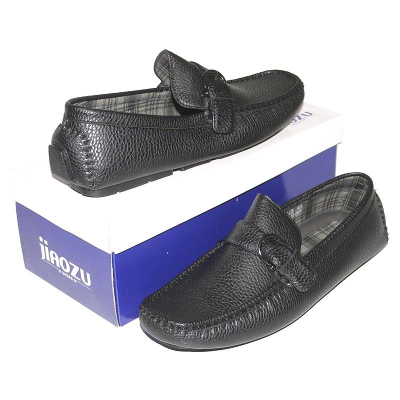JZ Black Leather Buckle Men's Loafers