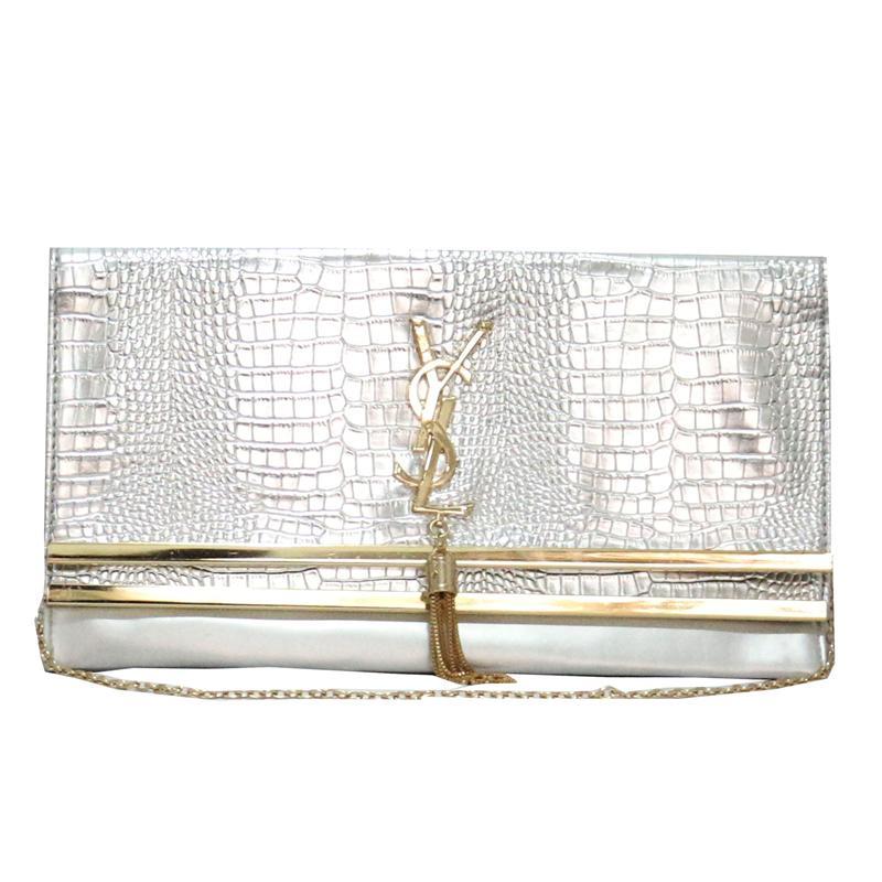 Buy YSL-Silver-Evening-Clutch-Bag-wt-Gold-Trims -Shop Fashion ...