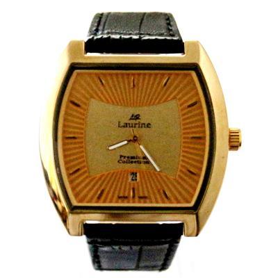 Laurine Black Leather Golden Men's Watch
