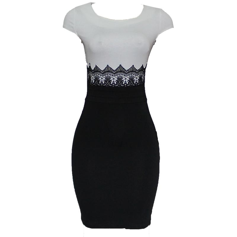 Nice Forever Black/White Tommy Lace Design Ladies Dress