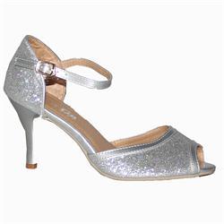 Gaga Silver Leather Glittering Ladies Peep Toe 2Inch Heel Shoe