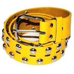 Yellow/Silver Fashion Leather Men's Spike Belt
