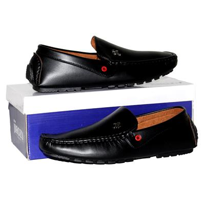 Jiaozu Black Leather Mens Loafers