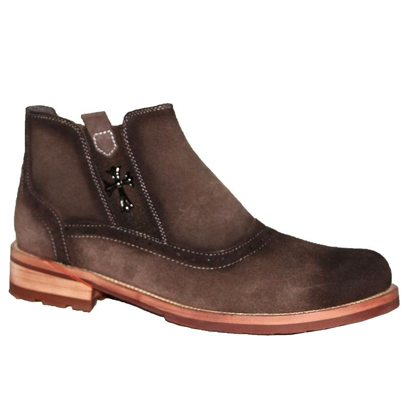 Chrome Heart Coffee Suede/Leather Saunchus Men's Boot
