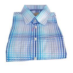 Collezione Navy/Turquoise Check Men's L/S Cotton Shirt