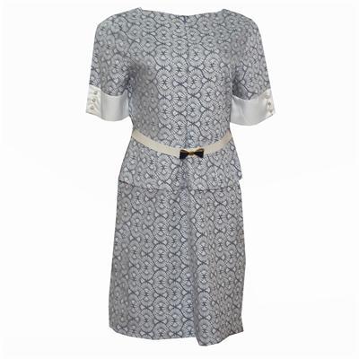 Roserita White/Gray Ladies Peplum Dress Wt White Belt