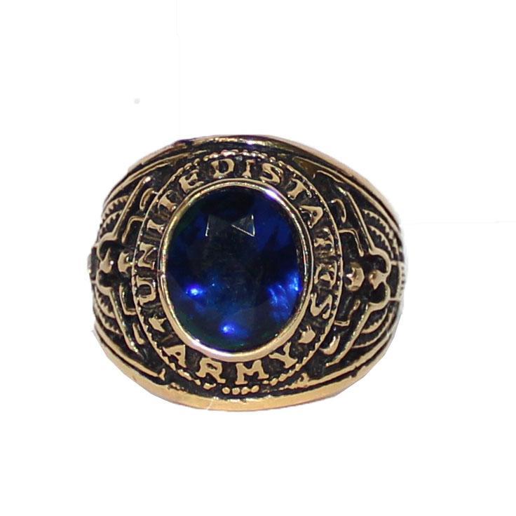 United States Matines Bronze/Navy Stone Bishop Ring