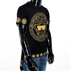 Versace Black Cottoneather Medusa Print Men's Dip Back Long T-Shirt