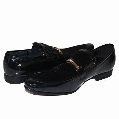 Cochise Black Patent Leather Mens Formal Shoe With Furs Design