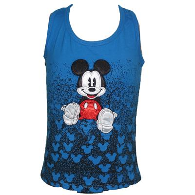 Glog Blue Girls Armless Top With Mickey Mouse Design
