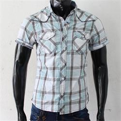 JPXSR Green/Gray Check Cotton Shortsleeves Men's Shirt