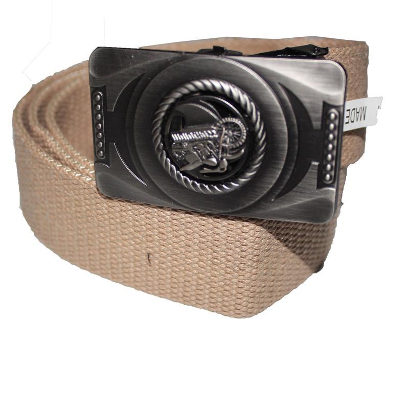 Cream Denim Fabric Bike Buckle Design  Men's Belt