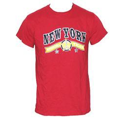 Gildan Wine Cotton Black/Yellow NY Print Men's T-Shirt