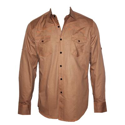 Alecomoda Brown Cotton Men's L/Sleeves Shirt