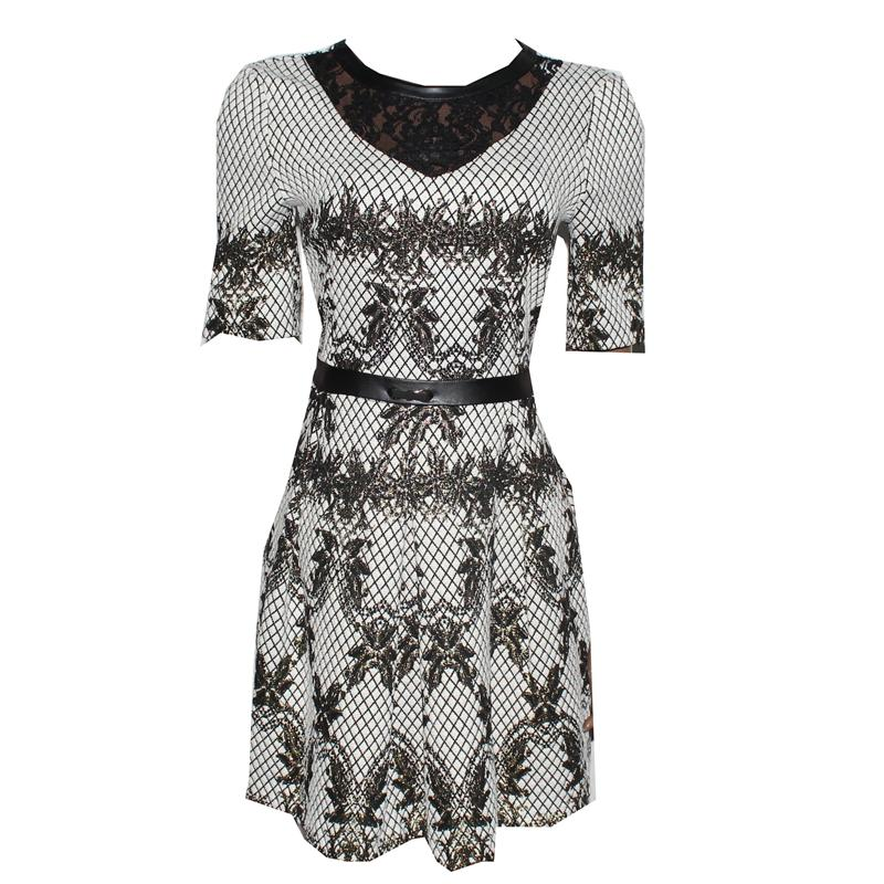 Jeanne Da'rc Beige/Black Laced  Skater Dress