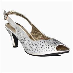 Gaga White Leather Silver Studded Ladies Peep Toe Mid Heel Sandals