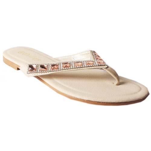 WD Beige Leather Ladies Flat Slippers Wt Stones