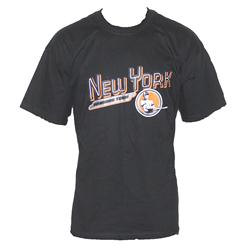 Black Cotton Orange/Black New York Print Men's T-Shirt