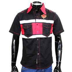 Black/Red/white Cotton S/Sleeve Shirt