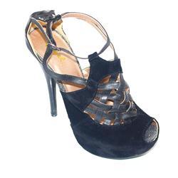 Qupid Black Ladies Elegant Suede Heel Sandal