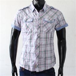 JPXSR Pink/Green Check Cotton Shortsleeves Men's Shirt