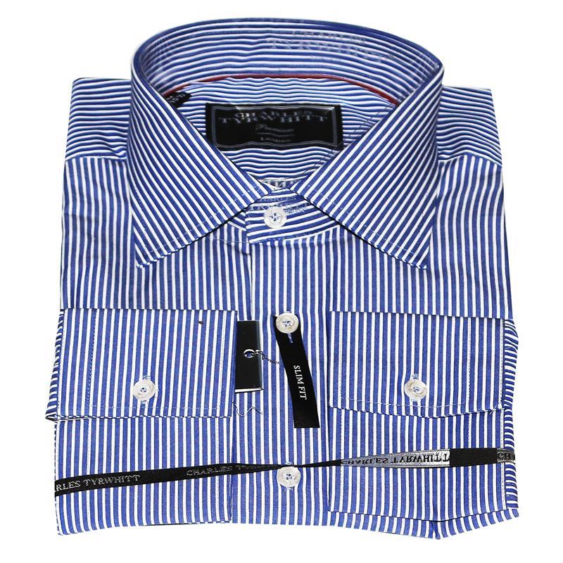 Charles Tyrwhitt Blue/White Stripes Cotton Men's Premium Shirt