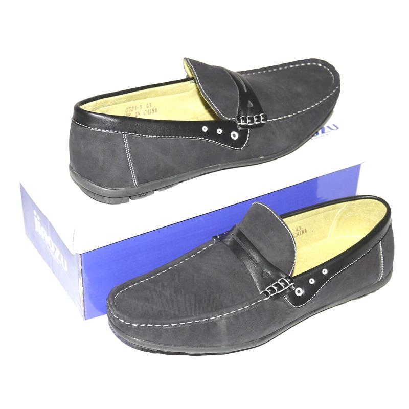 JZ Black Leather Men's Loafers