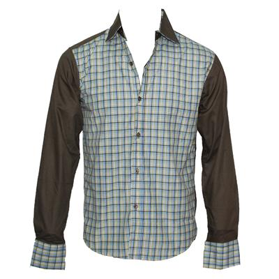 TM Lewin Lemon/Blue Check Green Collar L/S Men's Shirt