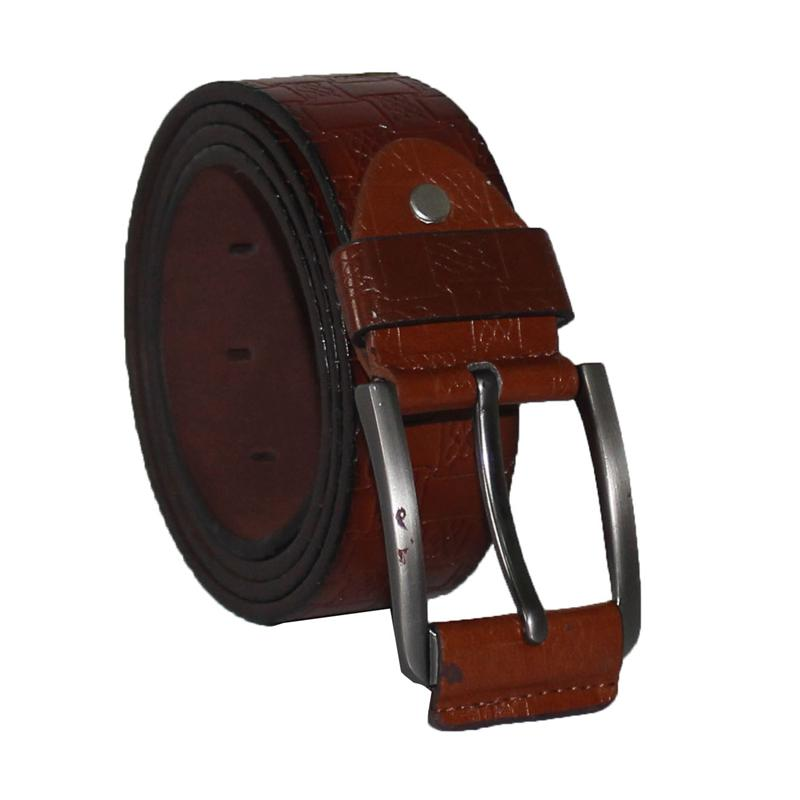 Block Pattern Brown Leather Men's Belt