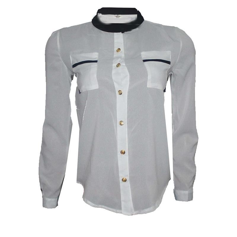 L & K White/Black Ladies Chiffon Top wt Gold Button
