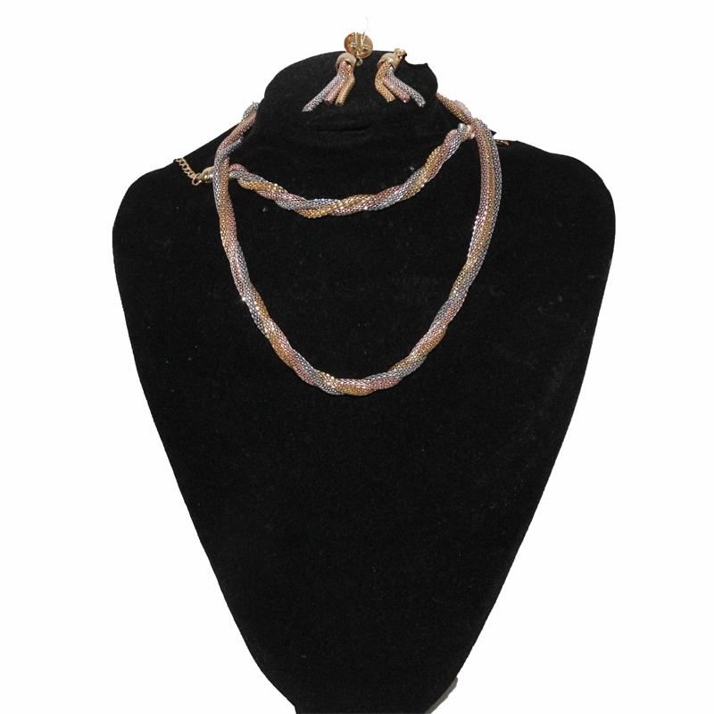 Fashion Silver/Gold Twisted Jewelry Set Without Ring