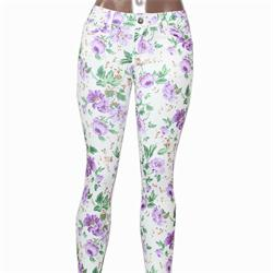 Usy Cream/Green Floral Pattern Ladies Jeggings