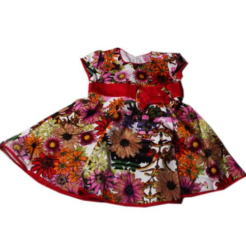Butterfly Red/Multicolor Floral Patten Girls Dress