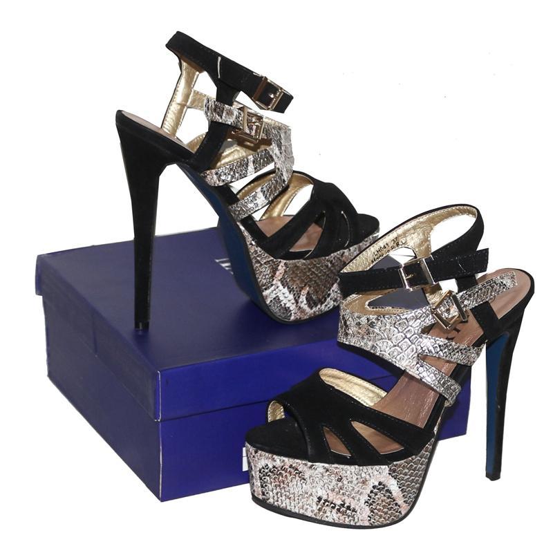 Taiyu Beige Leather/Suede 6'' Heel Sandal